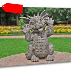Gartenfigur Gartendrache - Modell Grimassenschneider - Fantasy Figur Deko Drache
