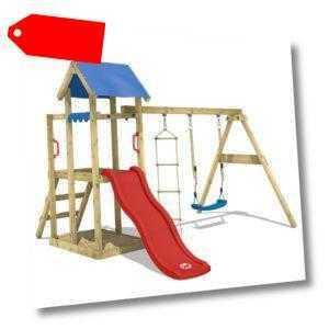 WICKEY Spielturm Kletterturm TinyPlace Rote Rutsche Schaukel Kinder Holz Garten