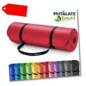 Yogamatte Fitnessmatte Gymnastikmatte Pilates Bodenmatte 185x60x1,5cm Rot
