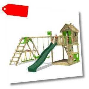 FATMOOSE Spielturm Klettergerüst HappyHome mit SurfSwing & grüner Rutsche