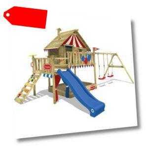 WICKEY Spielturm Klettergerüst Smart Trip mit blauer Rutsche & rot/blauer Plane