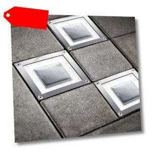 3 Stück LED Solar Bodenlampe Solarlampe Edelstahl Bodeneinbau quadrat SEL05
