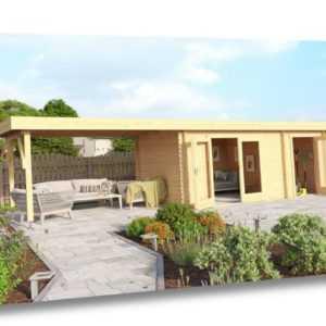Gartenhaus LINDA 440x300 cm + 400 cm Schleppdach, 28mm Wände, 2 Raum, ohne Boden