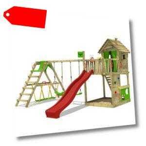 FATMOOSE Spielturm Klettergerüst HappyHome mit SurfSwing & roter Rutsche