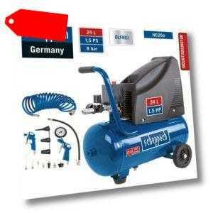 Scheppach 8bar Druckluft Kompressor HC25o Set+Spiralschlauch+Zubehör 96