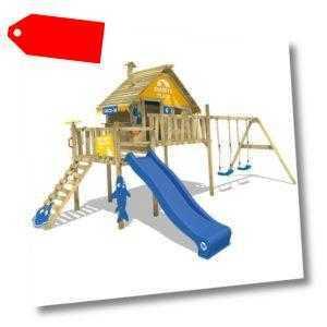 WICKEY Stelzenhaus Spielturm Baumhaus Smart Bay - gelb/blau - Schaukel