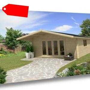 TOPGARDEN Gartenhaus Premium 5x5m Camilla + 1m Vordach, 45mm, Falttür, +Boden