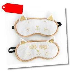 Schlafmaske Katze mit Ohren Schlafbrille Ohren süß niedlich grinsen Schlafen