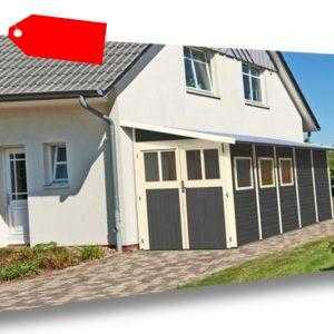 Karibu Gartenhaus WANDLITZ 5 terragrau Gerätehaus 181x442cm 19mm Schuppen