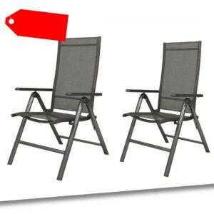 Klappsessel Gartenstuhl Klappstuhl 2er Set Aluminium schwarz FLORABEST B-Ware