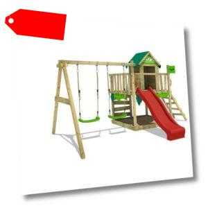 FATMOOSE Spielturm Klettergerüst JazzyJungle Jam XXL mit Doppelschaukel - rot