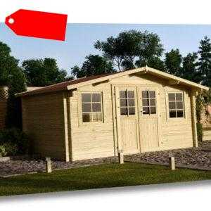 34 mm Gartenhaus 400x400 cm + DACHSCHINDELN Holz Gerätehaus Blockhaus Schuppen