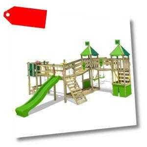 FATMOOSE Spielturm Kletterturm FunnyFortress Free XXL mit Schaukelanbau Rutsche