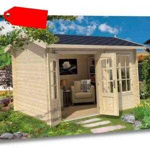 Gartenhaus ALEX 320 x 270cm, ISO-Glas, Blockbohlen 44mm, Fußboden, LASITA MAJA
