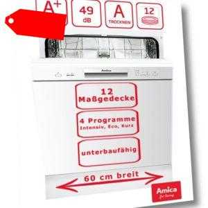 Geschirrspüler 60cm unterbaufähig Spülmaschine Weiß A+ 12...