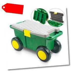 Gartenwagen Sitzwagen Rollsitz mit Kleinteile Einsatz Rollwagen Bank Hocker