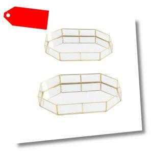 Gold Glas Make up Veranstalter Schmuck Tablett Tabelle Sukkulenten Polygone