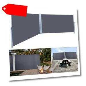 Seitenmarkise Sichtschutz Ausziehbar Windschutz Sonnenschutz Seitenrollo Grau UV
