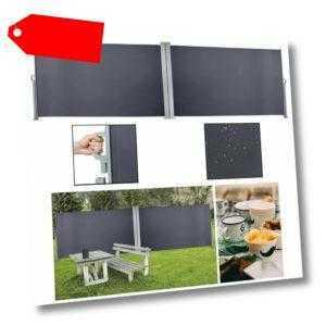 180 x 600 cm Seitenmarkise Terrassenwindschutz Windschutz Doppel Sichtschutz Alu