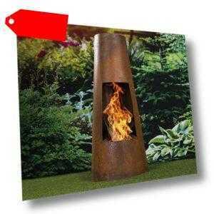 Terrassenofen Feuertonne Gartenkamin Feuersäule Feuerschale Feuerstelle Edelr...