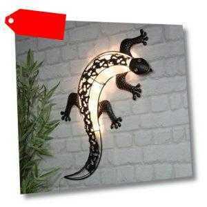 Solar LED Wanddeko Gecko mit 10 LEDs Wandleuchte Außendeko Balkon Solarleuchte