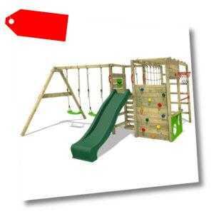 FATMOOSE Klettergerüst Spielturm ActionArena mit Schaukel & grüner Rutsche