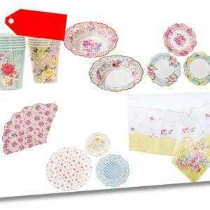 Riesiges 81 Teile Vintage Blumenmuster Afternoon Tee Party Geschirr Set Braut
