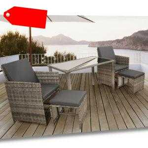 AREBOS Polyrattan Set 5tlg. Gartenmöbel Essgruppe Sitzgruppe Gartenset Lounge