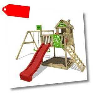 FATMOOSE Spielturm Klettergerüst RockyRanch Roll XXL, Schaukel & rote Rutsche