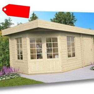 Lasita Maja Gartenhaus NINA 5eck, 2 Räume, 436x296cm, 44mm Bohlen,mit Boden, ISO