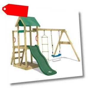 WICKEY Spielturm Kletterturm TinyPlace Holz Garten Schaukel Grüne Rutsche