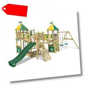 WICKEY Spielturm Klettergerüst Smart Queen Garten grüne Rutsche Doppelschaukel