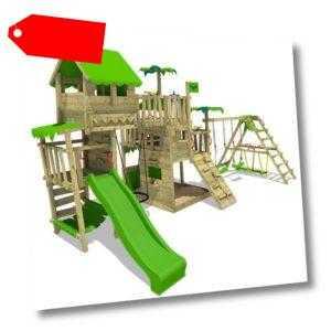 FATMOOSE Spielturm Klettergerüst PacificPearl - Apfelgrüne Rutsche und Surfanbau