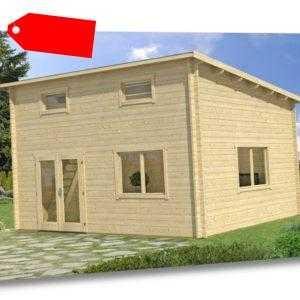 Gartenhaus und Freizeithaus Eppingen Holz 598x418 cm 40 mm Pultdach Blockhaus