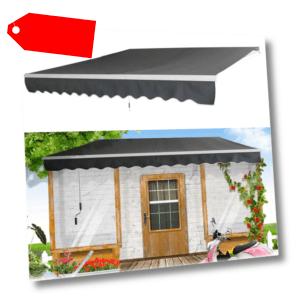 3 x 2.5m Aluminium Markisen Gelenkarmmarkise Sonnenschutz Terrasse Dunkelgrau DE