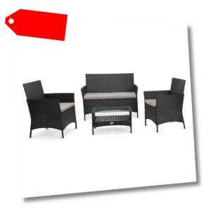 SVITA BROOKLYN 2020 Polyrattan Sitzgruppe Lounge Gartenmöbel Set schwarz
