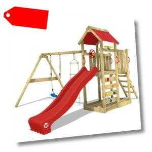 WICKEY Spielturm Spielhaus MultiFlyer Kletterturm rote Rutsche Schaukel Garten