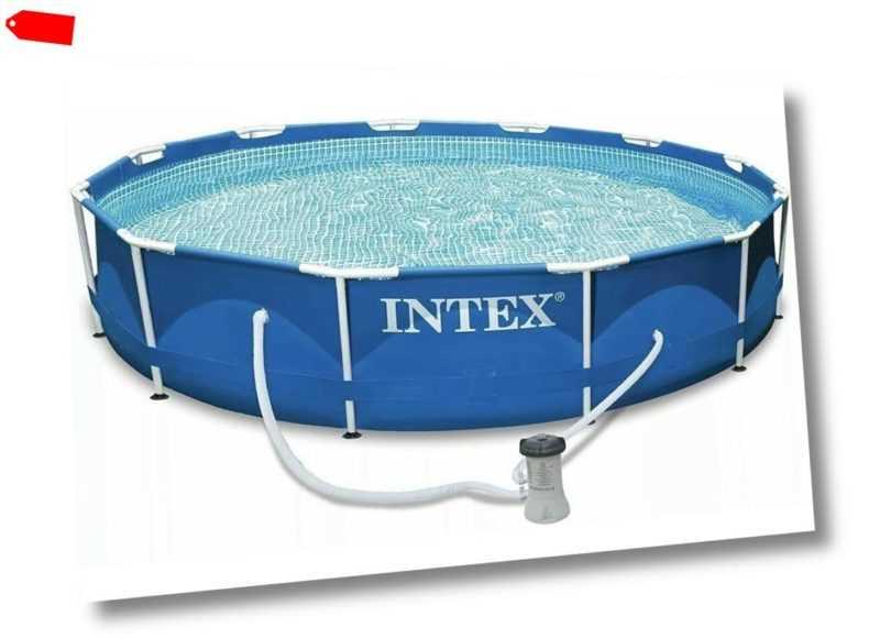 INTEX Familien Swimmingpool mit Metallrahmen 366 x 84 cm Schwimmbad Pool Freibad