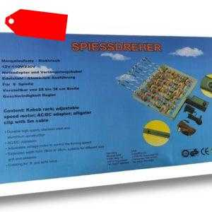 Grill Spießdreher 9 Spieße Mangal Schaschlik TÜV 49cmbreit+Gratis 20Spieße