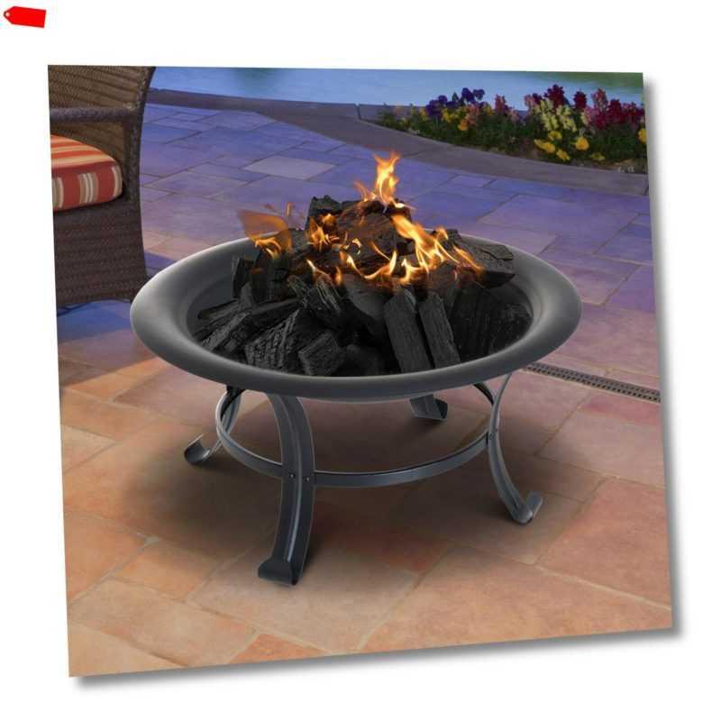 Outsunny Feuerschale Feuerkorb mit Funkenschutz Grillrost Garten 74cm Schwarz