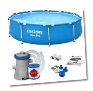 BESTWAY STEEL PRO 366 x 76cm - Gartenpool Schwimmbecken Frame Pool + Filterpumpe
