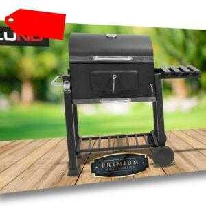 LUND Grill Grillwagen BBQ Barbeque Angular Holzkohlegrill Holz 113x50x107cm