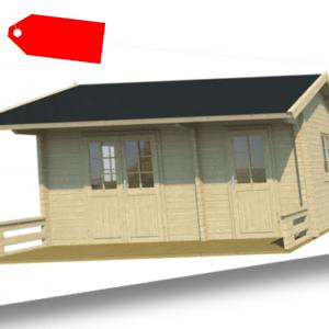 Blockhaus Eva 70 mit 28mm Boden 5,00x3,00m 2-Raum Gästehaus/Freizeit-Gartenhaus