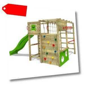 FATMOOSE Spielturm Klettergerüst FitFrame Fresh XXL Rutsche Kletternetz Holz