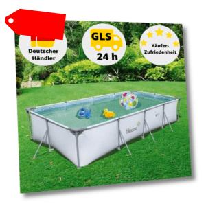 Blooma Schwimmbecken Pool Stahlrohrbecken Gartenpool Rechteck Pool + Filterpumpe
