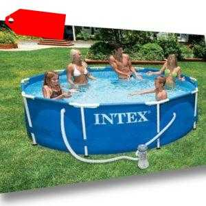 Metal Frame Pool 366 x 76 cm Intex 28212 mit Pumpe Stahlrahmen Swimmingpool