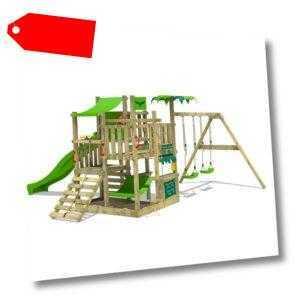 FATMOOSE BananaBeach Big XXL Spielturm Kletterturm Garten Doppelschaukel Rutsche