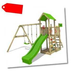 FATMOOSE Spielturm Kletterturm MagicMango Move XXL Holz Doppelschaukel Rutsche