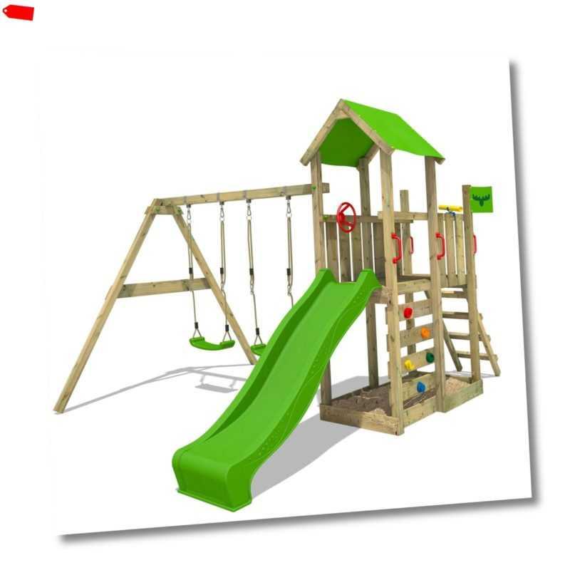 FATMOOSE Spielturm Kletterturm MagicMango Move XXL Holz Doppelschaukel Rutsche   ForLife24.com