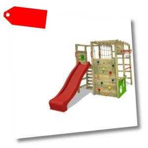 FATMOOSE Klettergerüst Spielturm ActionArena Stelzenhaus mit roter Rutsche